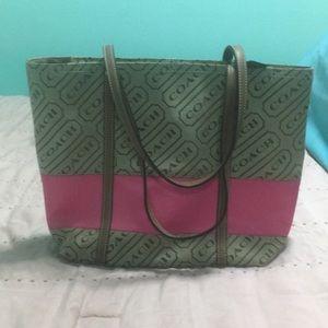 Pink Coach tote shoulder bag